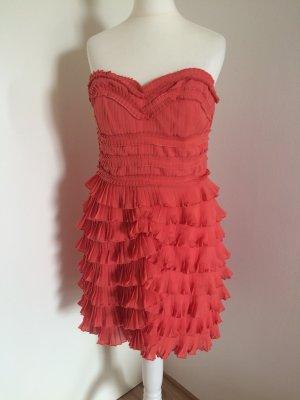 H&M Kleid 38 M neu lachs Abendkleid Volants Rüschen Plissiert