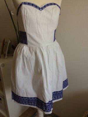 H&M Kleid 38 M neu weiß blau Sommer Kleid Bandeau