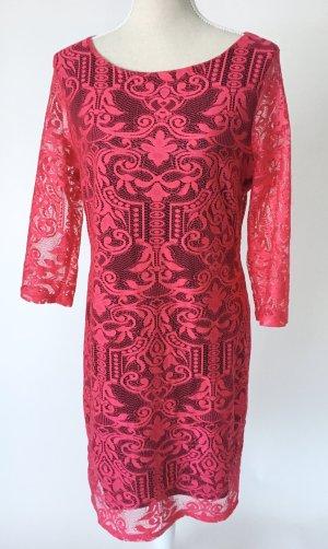 H & M Kleid 40 L Spitze Abendkleid Cocktailkleid pink schwarzes Unterkleid