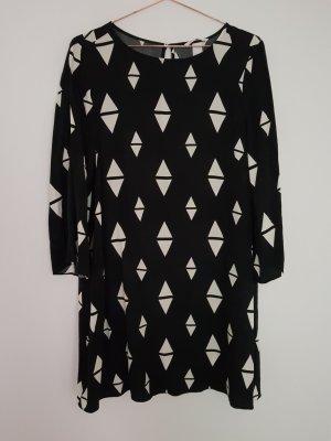 h&m Kleid 40/M schwarz/Dreiecke Trompetenärmel asos topshop