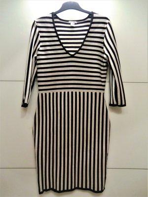 H&M Vestido de tela de sudadera blanco-negro Algodón