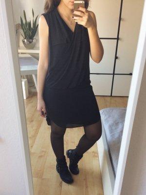 H&M Kleid Blusenkleid Wasserfallkragen schwarz Chiffon Gr. 36