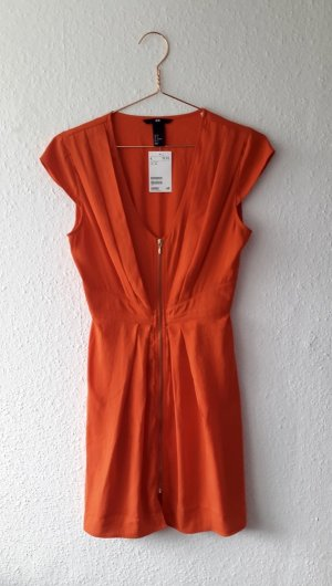 H&M Kleid Blutorange Morange tailliert