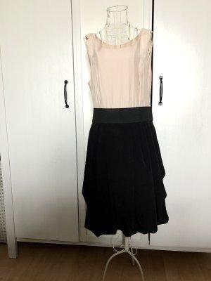 H&m Kleid, Creme schwarz, Satin, 38