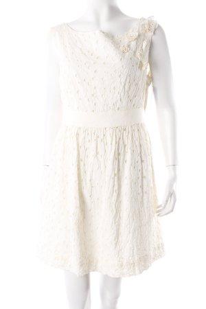 H&M Kleid cremefarben mit Lochmuster