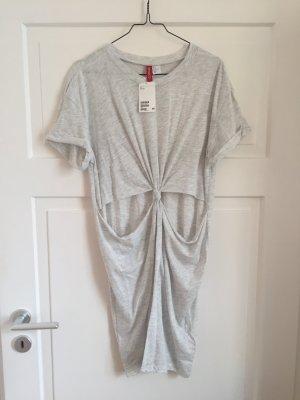 H&M Kleid Cut Out Cutout Oberteil Shirt Top Tshirt Dress oversized grau