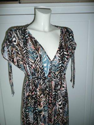 H&M Kleid Dress Tunikakleid mit V-Ausschnitt Viscose mehrfarbig Gr 36