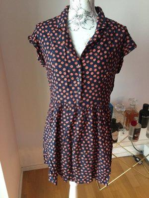 H&M Kleid dunkelblau orange mit Punkten Gr 42 XL