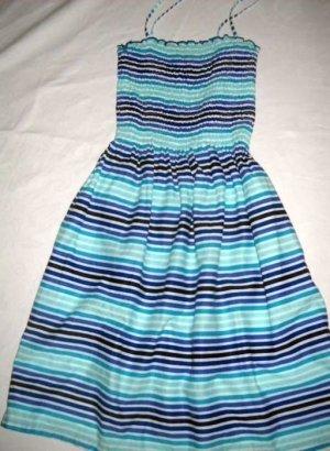 H&M Kleid gesmogt Trägerkleid Streifen gestreift weiß blau türkis 32 34 36 XS S