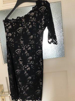 H&M One Shoulder Dress black-rose-gold-coloured cotton