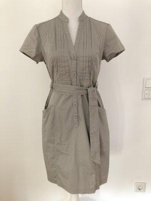 H&M Kleid grau Business Gürtel Stoffgürtel schick Blusenkleid