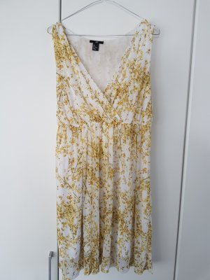 H&M Vestido cruzado blanco-amarillo