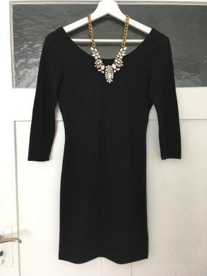 H&M Kleid Jerseykleid Mini Eng Figurbetont Sexy Kleines Schwarzes Schwarz Rückenausschnitt XS 34 NEU
