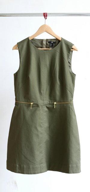 H&M Kleid - khaki/gold