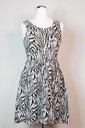 H&M Kleid kurz Zebra Animal Print schwarz weiß Gr. 38 M