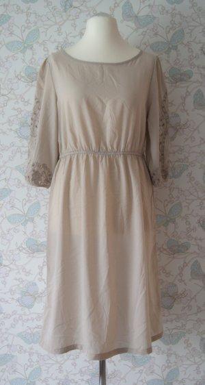 H&M Kleid Lochmuster, Gr. 42, beige, nude