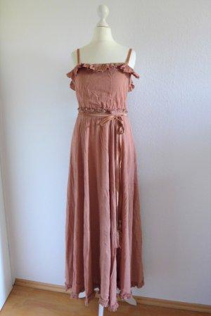 H&M Kleid Maxikleid Boho Hippie Ibiza nude zimt braun rose Gr. 34 XS
