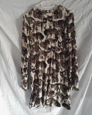 H&M Kleid Mini Langarm Trompetenärmeln Weiss/Brauntöne Print Tier Muster Gr.38
