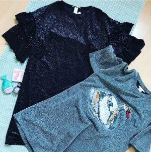 H&M Kleid Minikleid Glitzer Sparkle Samt Velvet Volants M