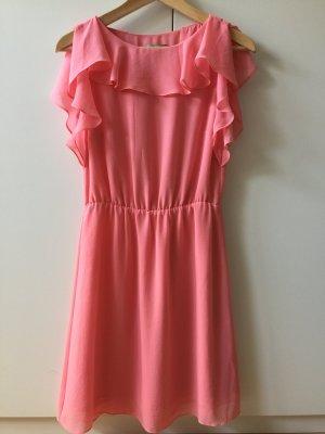 H&M Kleid Pastell rosa Volant gr. 34 Sommerkleid