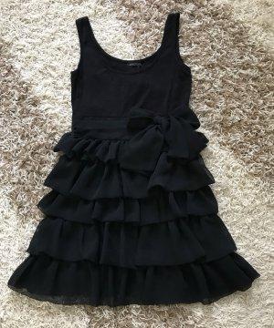 H&M Kleid schwarz Schleife Bow Gr. 34 XS Trägerkleid Volants Stretch Volantkleid Silvester Festtage