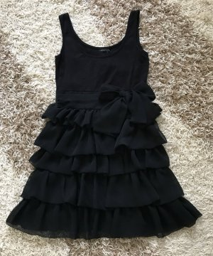 H&M Kleid schwarz Schleife Bow Gr. 34 XS Trägerkleid Volants Stretch Volantkleid