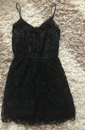H&M Kleid schwarz Spitze Spitzenkleid Gr. 34 XS Trägerkleid Volants