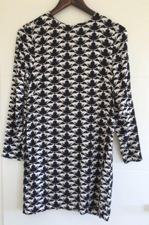 H&M Kleid schwarz-weiß mit Katzenprint