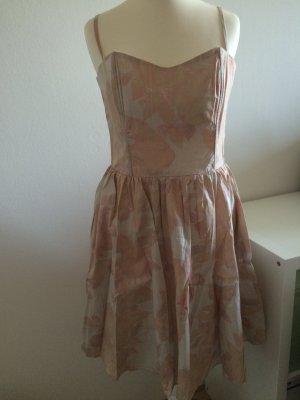 H&M Kleid Sommer Frühling 38 M neu puder rosa beige altrosa geblümt floral neu