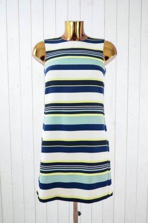H&M Kleid Sommerkleid Cocktail-Kleid Streifen Neon Dunkelblau Schwarz Weiß Gr.34
