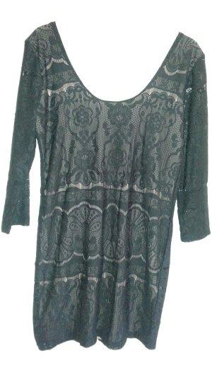 H&M  - Kleid spitze schwarz - nude gr.38