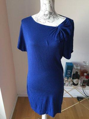 H&M Kleid Strickkleid mit Schleife Royalblau Gr L