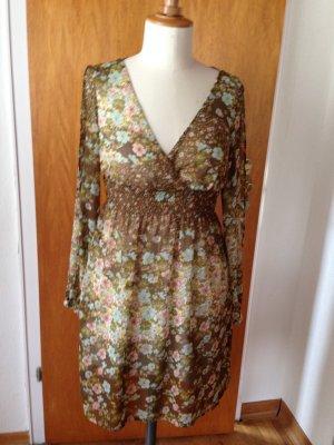 H&m Kleid Tunika 34 XS Khaki Blumen