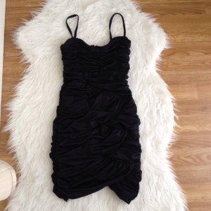 H&M Kleid Weihnachten Silvester Raffung Winter schwarz Gr. XS 34 Stretch