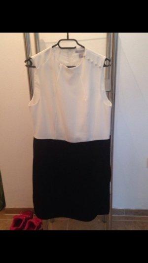 H&M Kleid Weiß-Schwarz Knielang