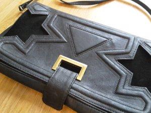 h&m kleine Tasche/Clutch schwarz/samt Stern