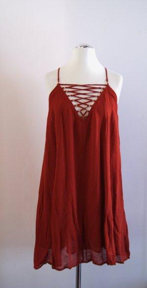 H&M knielanges Chiffon-Kleid, rost-rot, Gr. 42 NEU