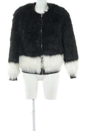 H&M Kunstfelljacke schwarz-weiß Elegant