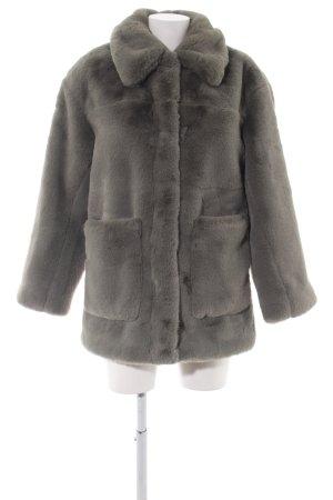 H&M Fake Fur Coat light grey elegant