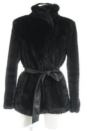 H&M Jas van imitatiebont zwart zigzag patroon casual uitstraling