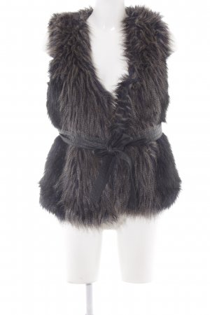 H&M Kunstfellweste schwarz-dunkelblau Casual-Look