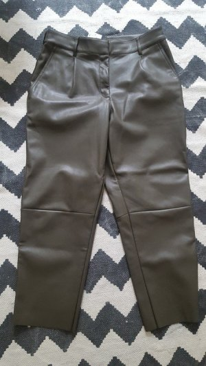 H&M Leather Trousers green grey-khaki imitation leather