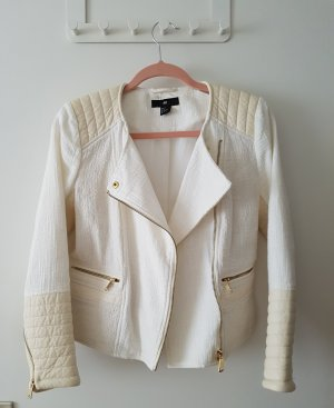 H&M Chaqueta de motociclista blanco-blanco puro tejido mezclado