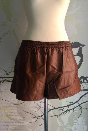 H&M Kunstleder-Shorts, Cognac, Gr. XL