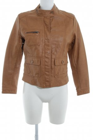 H&M Faux Leather Jacket cognac-coloured casual look