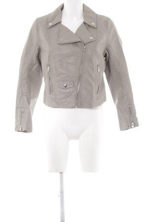 H&M Kunstlederjacke grau Casual-Look