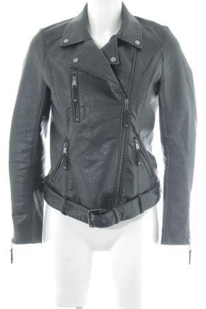 H&M Kunstlederjacke schwarz Biker-Look