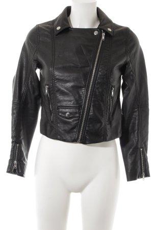 H&M Jack van imitatieleder zwart Biker-look
