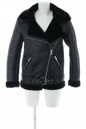 H&M Kunstlederjacke schwarz Casual-Look