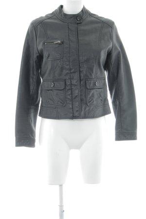 H&M Kunstlederjacke schwarz klassischer Stil